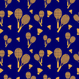 Vector seamless pattern with elements of orange rackets and birdies Royalty Free Stock Images