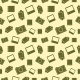 Vector seamless pattern with elements of retro camera, film and photo Royalty Free Stock Images