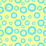 Vector seamless pattern with elements of stylized blue daisies Royalty Free Stock Images