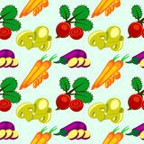 Vector seamless pattern with elements of vegetables: eggplant, beets, carrots and mushrooms. Stock Photo