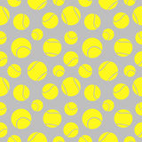 Vector seamless pattern with elements of yellow tennis balls Stock Photos