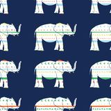 Vector seamless pattern with elephants hand drawn stripes and triangles . Hand drawn orange, green, yellow and blue stripes and. Decorative repeat seamless vector illustration