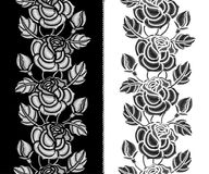 Vector seamless pattern with embroidery Rose flower, bud and leaves in black and white. Floral vertical border with ornate roses. Stock Photo