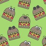 Vector seamless pattern emotional hamburgers. Fun, delicious pattern stock illustration