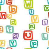 Vector seamless pattern - english alphabet in colorful squares Royalty Free Stock Image
