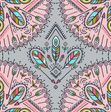 Vector seamless pattern with ethnic arrows, feathers and tribal ornaments. Stock Photo