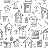 Vector seamless pattern with ethnic bird houses. Stock Photo