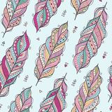 Vector seamless pattern with ethnic feathers. Royalty Free Stock Photo