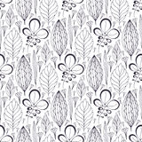 Vector  seamless pattern with ethnic leaves ornament.  Stock Photos