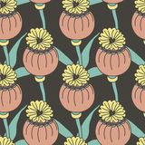 Vector seamless pattern of exotic colored flowers Royalty Free Stock Photos