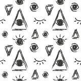 Vector seamless pattern with eye of providence, masonic symbol Stock Photos