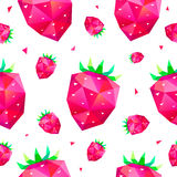 Vector seamless pattern with faceted berries, strawberry background. Royalty Free Stock Images