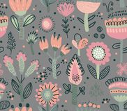 Vector seamless pattern with fancy flowers. Scandinavian motives. royalty free stock photo