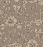 Vector seamless pattern with fantasy flowers Stock Images