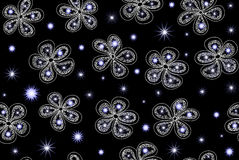 Vector seamless pattern with fantasy winter flowers Stock Image