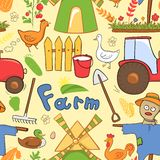 Vector seamless pattern farm elements in doodle Stock Images