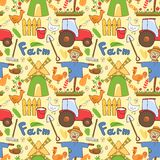 Vector seamless pattern farm elements in doodle. Vector seamless pattern cute farm elements in doodle style Stock Photos