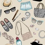 Seamless pattern, fashion accessories set Royalty Free Stock Photo
