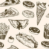 Vector seamless pattern fast food. Hamburger, donut, ice cream, hot dog, french fries, pizza. Royalty Free Stock Image