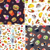 Vector seamless pattern with fast food icon set Stock Images