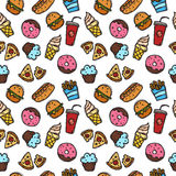 Vector seamless pattern with fastfood objects. Junk food and sweets background in doodle style. Stock Images