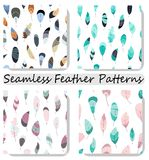Vector seamless pattern with feathers. Collection,set prints,texture,wallpapers,backgrounds. stock illustration