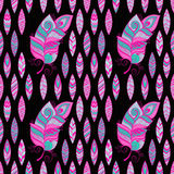 Vector Seamless Pattern with Feathers Stock Photography