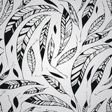 Vector Seamless Pattern with Feathers Royalty Free Stock Image