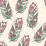 Vector Seamless Pattern with Feathers Royalty Free Stock Photos