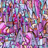 Vector seamless pattern with fictional Gothic city. With towers and stained glass windows. Hand drawn Stock Photo