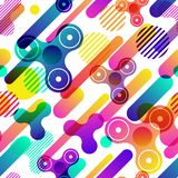 Vector seamless pattern. Fidget hand spinner, motion geometric shapes, overlapping background. Spinner anti stress toy. Abstract dynamic seamless pattern vector illustration