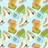 Vector seamless pattern with figure ice skates Royalty Free Stock Images