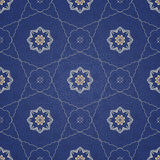 Vector seamless pattern, filigree background. Vintage element for design in Eastern style. Ornamental blue tracery. Ornate floral decor for wallpaper. Endless Royalty Free Stock Photos