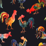Vector seamless pattern with fire cock on black background.. Chinese calendar Zodiac for 2017 New Year of rooster. Isolated bird drawn in watercolor Stock Photos