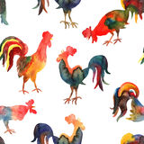 Vector seamless pattern with fire cock on white background.. Chinese calendar Zodiac for 2017 New Year of rooster. Isolated bird drawn in watercolor Stock Photo