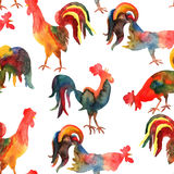Vector seamless pattern with fire cock on white background.. Chinese calendar Zodiac for 2017 New Year of rooster. Isolated bird drawn in watercolor Royalty Free Stock Photography