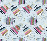 Vector seamless pattern with fireworks, confetti, birthday cake and candles. stock illustration