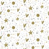 Vector seamless pattern with fireworks, confetti, stars, hearts royalty free illustration