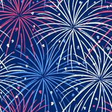 Ink hand drawn seamless pattern with fireworks in the night sky. Vector seamless pattern with fireworks in the night sky on Independence Day July 4th vector illustration