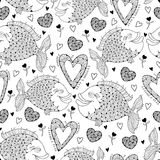 Vector seamless pattern with fish and ornate heart on the white. Design and holiday symbols in contour style for Valentine day. Royalty Free Stock Photos
