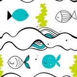 Vector seamless pattern with fish. Scandinavian motives. Baby print. Vector seamless pattern with fish. Scandinavian motives Royalty Free Stock Photos