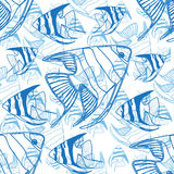 Vector Seamless pattern with fish silhouettes. Blue Vector Seamless pattern with fish silhouettes. Endless background Royalty Free Stock Image