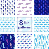 Vector Seamless pattern with fish silhouettes. Blue Vector Seamless pattern set with fish silhouettes. Endless background collection Stock Photos