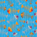 Vector seamless pattern of fish skeletons Stock Photos