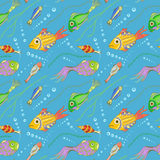 Vector seamless pattern with fishes, seaweeds and bubbles Stock Photo
