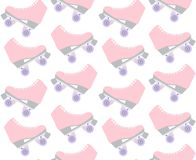 Vector seamless pattern of flat cartoon pastel pink roller skates on white background stock illustration