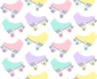 Vector seamless pattern of flat cartoon pastel retro roller skates on white background vector illustration