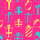 Vector seamless pattern with flat cartoon style Stock Images