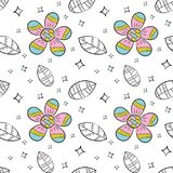 Vector seamless pattern of flat flowers and leaf in Scandinavian style hand drawn on a white background. Used for banners, present. Ations, backgrounds, wrapping royalty free illustration