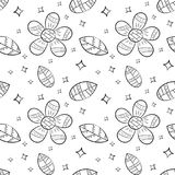 Vector seamless pattern of flat flowers and leaf in Scandinavian style hand drawn on a white background. Used for banners, present. Ations, backgrounds, wrapping stock illustration